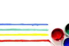 与油漆和色的条纹的刷子 库存图片