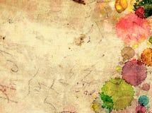 与油漆污点的纹理老纸  免版税库存图片