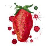 与油漆污点的草莓 库存图片