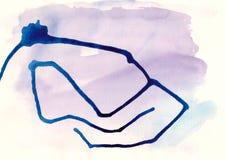 与油漆的抽象水彩背景在帆布 免版税库存照片