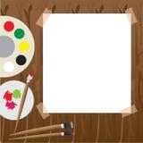 与油漆的艺术调色板 免版税库存图片