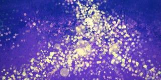 与油漆飞溅声和bokeh的抽象紫色蓝色和金银铜合金背景设计点燃纹理 皇族释放例证