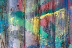 绘与油漆崩裂的老木板条 免版税库存图片