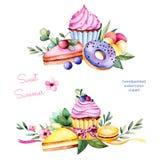 与油炸圈饼、叶子,多汁植物、分支、蝴蝶花花、蛋白杏仁饼干、柠檬和樱桃乳酪蛋糕,杯形蛋糕的美好的夏天收藏 向量例证