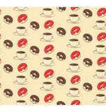 与油炸圈饼和咖啡的无缝的美好的样式在灰棕色的 库存图片