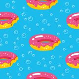 与油炸圈饼浮游物的夏天在泡影背景的样式和水池 摘要,热带无缝的样式 对纺织品 向量例证
