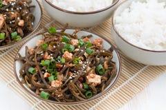 与油煎的豆腐的温暖的海圆白菜沙拉 库存图片