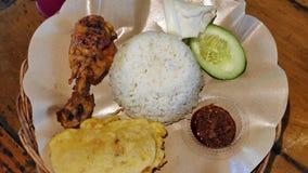 与油煎的tempeh和辣酱的烤鸡 免版税库存图片