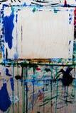 与油的多彩多姿的刷子冲程在帆布 背景 免版税库存图片