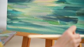 与油的艺术家绘画在室外的帆布 影视素材
