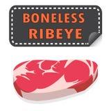 与油脂和贴纸banne的被解开的新鲜的无骨的Ribeye牛排 免版税库存照片