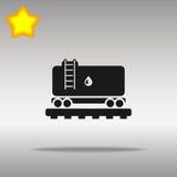 与油象按钮商标优质标志的概念的黑铁路坦克 免版税库存图片
