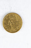 10与法国后侧方的欧分硬币使用了神色 图库摄影