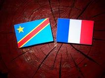 与法国旗子的刚果民主共和国旗子在树 免版税库存照片