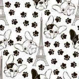 与法国牛头犬、艾菲尔铁塔和踪影的无缝的样式 B 皇族释放例证