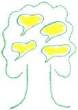 与泡影演讲的绿色结构树 库存照片