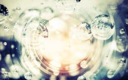 与泡影的抽象蓝色照片背景 免版税图库摄影