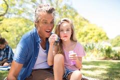 与泡影鞭子的父亲和女儿吹的泡影在野餐在公园 图库摄影