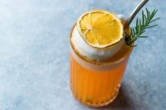 与泡沫、罗斯玛丽和金属秸杆的干橙色鸡尾酒 免版税库存照片