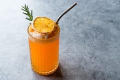 与泡沫、罗斯玛丽和金属秸杆的干橙色鸡尾酒 库存照片