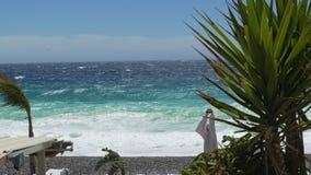 与泡沫似的波浪,强风摇摆的植物的非凡的海振动小卵石海岸 影视素材