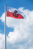 与波兰战斗的标志的波兰旗子 库存图片