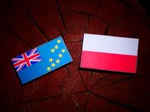 与波兰旗子的图瓦卢旗子在被隔绝的树桩 库存例证
