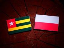 与波兰旗子的多哥旗子在被隔绝的树桩 皇族释放例证