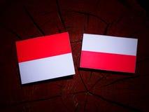 与波兰旗子的摩纳哥旗子在被隔绝的树桩 库存例证