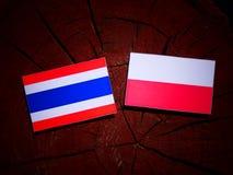 与波兰旗子的泰国旗子在被隔绝的树桩 库存例证