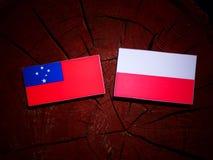 与波兰旗子的萨摩亚旗子在被隔绝的树桩 向量例证