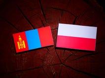 与波兰旗子的蒙古旗子在被隔绝的树桩 皇族释放例证
