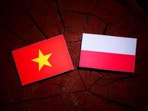 与波兰旗子的越南旗子在被隔绝的树桩 库存例证