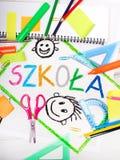 画与波兰词& x22; school& x22; 库存图片