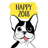 与波士顿狗的愉快的2018传染媒介例证 农历新年手拉的卡片 免版税库存照片