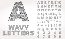 与波浪作用的西里尔字母 免版税库存照片