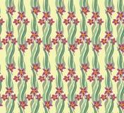 与波浪叶子和花的无缝的模式 免版税库存图片