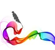 与波浪和羽毛笔的抽象颜色背景 库存图片
