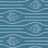 与波浪和鱼的传染媒介无缝的样式 免版税图库摄影