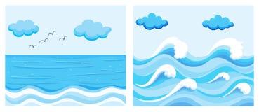与波浪的海洋场面 向量例证