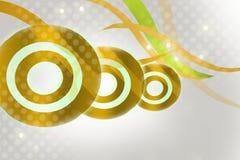 与波浪的金黄圆环,抽象背景 免版税库存照片