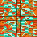 与波浪线的五颜六色的正方形 无缝的模式 图库摄影