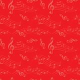 与波浪音乐笔记的红色无缝的样式-导航背景 免版税图库摄影
