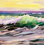 与波浪,绘画,例证的海风景 向量例证