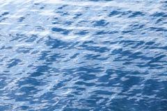 与波纹的蓝色海水背景纹理 免版税库存图片