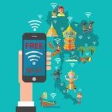 与泰国地图的自由wifi 库存照片