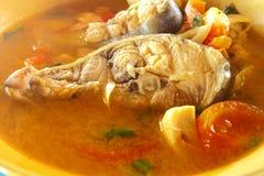 与泰国辣的Kod鱼在热汤 免版税图库摄影