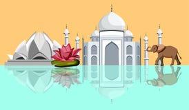 与泰姬陵、莲花寺庙和大象的印度背景 向量例证
