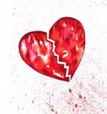 与泼溅物水彩的残破的心脏出血 库存照片