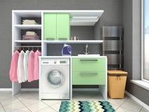 与洗衣机的卫生间设计 图库摄影